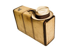 Vintage suitcase and hat Royalty Free Stock Photo
