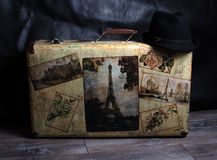 Vintage suitcase and hat Stock Images