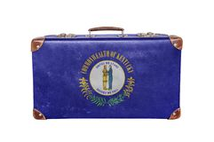 Vintage suitcase with Kentucky flag stock images