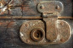 Vintage suitcase lcok. A close up of a vintage suitcase lock Royalty Free Stock Image