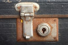 Vintage suitcase lcok. A close up of a vintage suitcase lock Stock Image