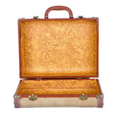 Vintage suitcase or luggage open, isolated Royalty Free Stock Photography