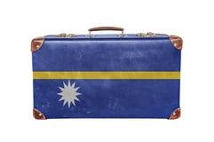 Vintage suitcase with Nauru flag Royalty Free Stock Photo