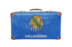 Vintage suitcase with Oklahoma flag Royalty Free Stock Photography
