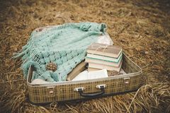 Vintage suitcase with old books and a knitted shawl on the faded and withered grass