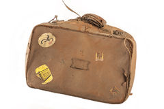Vintage suitcase. With old stickers Royalty Free Stock Images