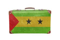 Vintage suitcase with Sao Tome and Principe flag. Isolated on white background Royalty Free Stock Photo