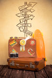 Vintage suitcase and skateboard Royalty Free Stock Image