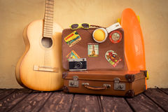 Vintage suitcase and skateboard Royalty Free Stock Photo