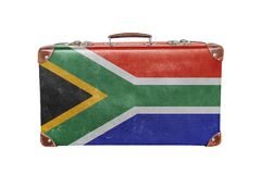 Vintage suitcase with South Africa flag Stock Images