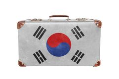 Vintage suitcase with South Korea flag. Isolated on white background close royalty free stock photography