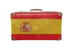 Vintage suitcase with Spain flag. Isolated on white background close royalty free stock photo