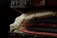 Vintage suitcase with table linen Royalty Free Stock Photo