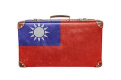 Vintage suitcase with Taiwan flag. Isolated on white background close stock photo