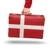 Vintage suitcase travel to Denmark Stock Photography