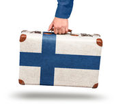 Vintage suitcase travel to Finland Royalty Free Stock Image