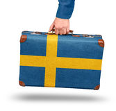 Vintage suitcase travel to Sweden Stock Photos
