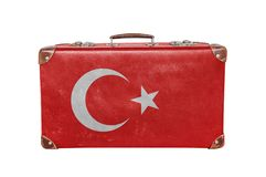 Vintage suitcase with Turkey flag. Isolated on white background close royalty free stock photos
