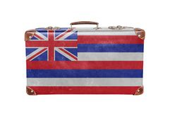 Vintage suitcase with Hawaii flag. Vintage suitcase with United states state Hawaii flag isolated on white royalty free stock photography