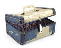 Vintage Suitcase on White Background. Vintage generic luggage, lid ajar, on white background Stock Photos