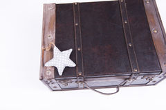 Vintage suitcase on white background with star Stock Photos
