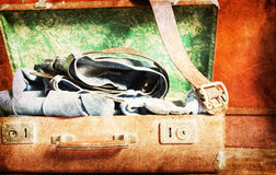 Vintage Suitcase a on wooden background Royalty Free Stock Photos