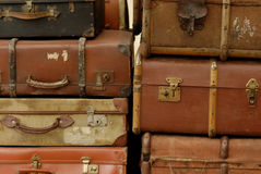VIntage suitcases. Stacked for loading stock image