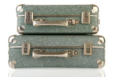 Vintage suitcases. Old vintage carton suitcases isolated over white Stock Photography