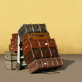 Vintage Suitcases. A Pile of Old Vintage Suitcases - Luggage Stock Images