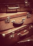 Vintage suitcases as travel background Stock Photo