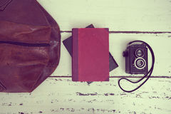 Vintage suitcases with books and camera Stock Image