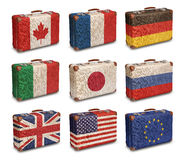 Vintage suitcases with G8 and EU flags Royalty Free Stock Image