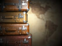 Vintage suitcases on the map of America background.Turism travel Stock Photography