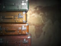 Vintage suitcases on the map background.Turism travel concept. Stock Photos