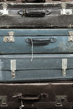 Vintage suitcases. Pile of colorful vintage suitcases Stock Photo