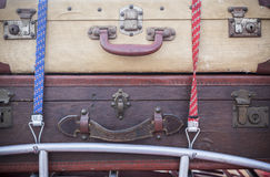 Vintage suitcases on a roof car. Travel, journey, retro baggages in car Stock Photography
