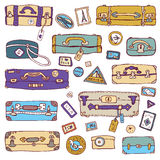 Vintage suitcases set. Travel Vector illustration. Royalty Free Stock Image