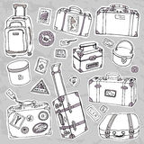 Vintage suitcases set. Travel Vector illustration. Stock Image