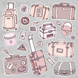 Vintage suitcases set. Travel Vector illustration. Stock Photography