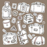 Vintage suitcases set. Travel Vector illustration. Stock Images