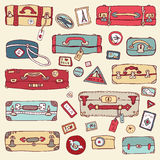 Vintage suitcases set. Travel Vector illustration. Royalty Free Stock Photo