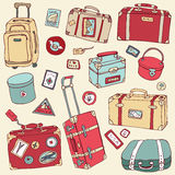Vintage suitcases set. Travel Vector illustration. Stock Photo