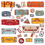 Vintage suitcases set. Travel Vector illustration Stock Photo