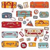 Vintage suitcases set. Travel Vector illustration Stock Photo