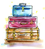 Vintage suitcases in sketch style Royalty Free Stock Image