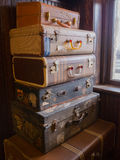 Vintage Suitcases. Stack of six vintage suitcases Stock Images