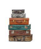 Vintage suitcases. Stack of vintage suitcase luggage isolated included clipping path Stock Photos