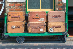 Vintage suitcases and trolley Stock Photo