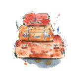 Vintage Suitcases Watercolor Stock Photo