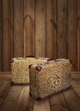 Vintage suitcases on wooden plank background Royalty Free Stock Photo